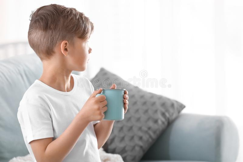 Cute little boy with cup of hot cocoa drink at home stock image