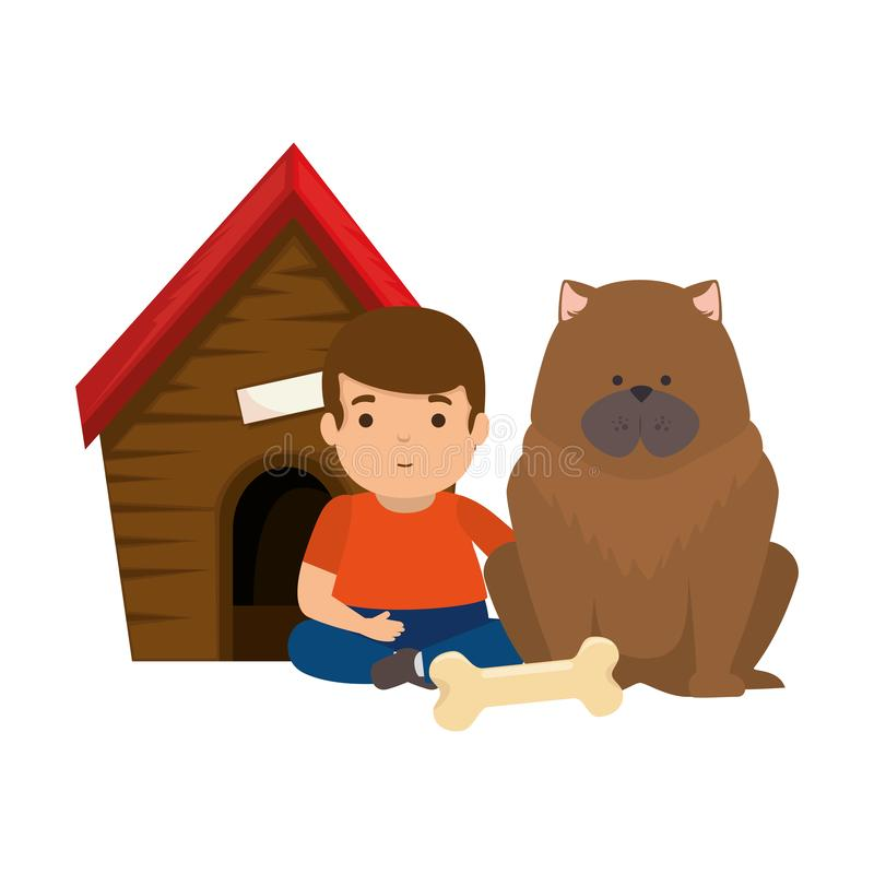 Cute little boy with dog and wooden house royalty free illustration