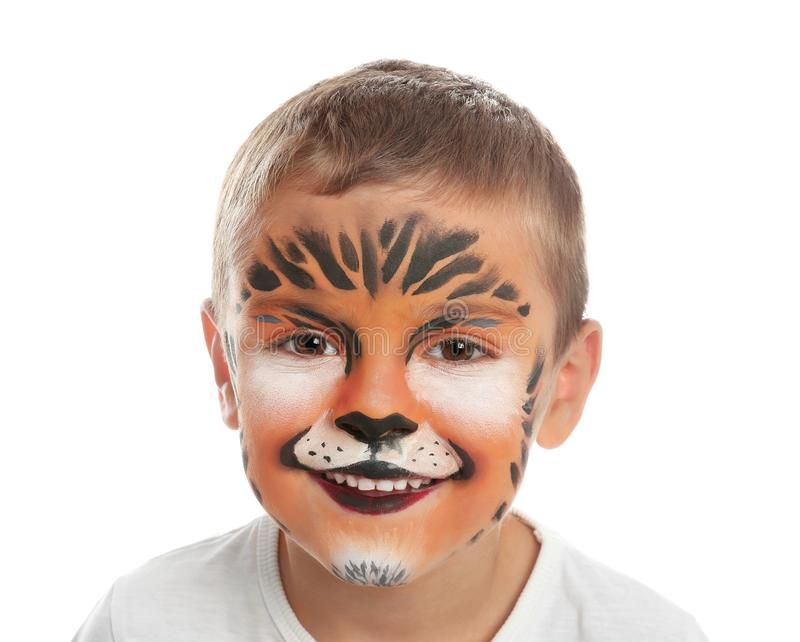 Cute little boy with face painting on white royalty free stock image