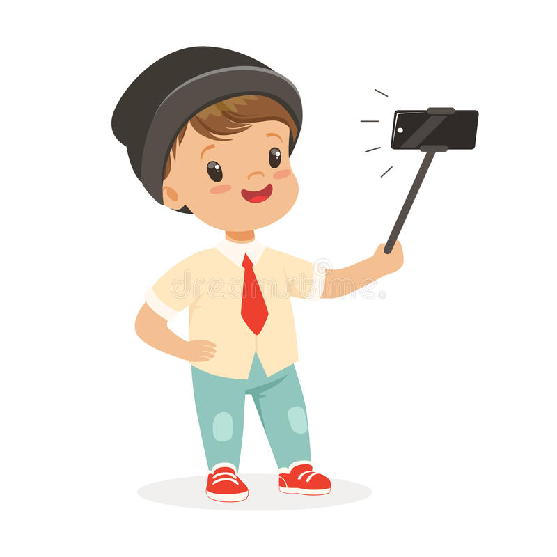Cute little boy in fashionable clothes taking selfie with a selfie stick, colorful cartoon character vector Illustration. Isolated on a white background royalty free illustration