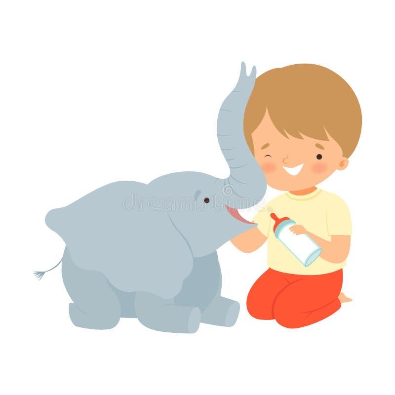 Cute Little Boy Feeding Baby Elephant with Milk Bottle, Adorable Kid Caring for Animal Cartoon Vector Illustration. On White Background royalty free illustration