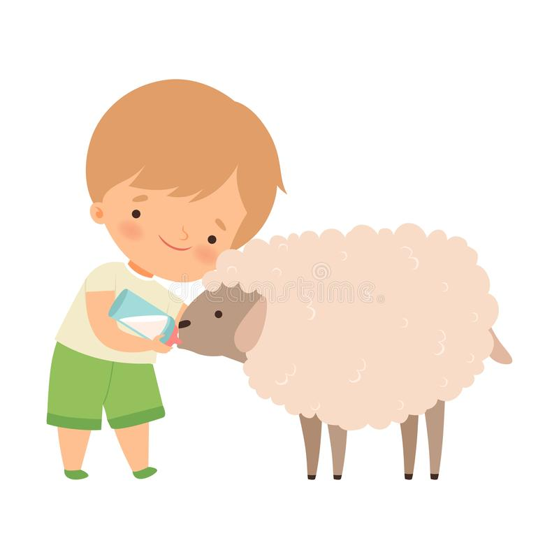 Cute Little Boy Feeding Lamb with Milk Bottle, Adorable Kid Caring for Animal at Farm Cartoon Vector Illustration royalty free stock photo