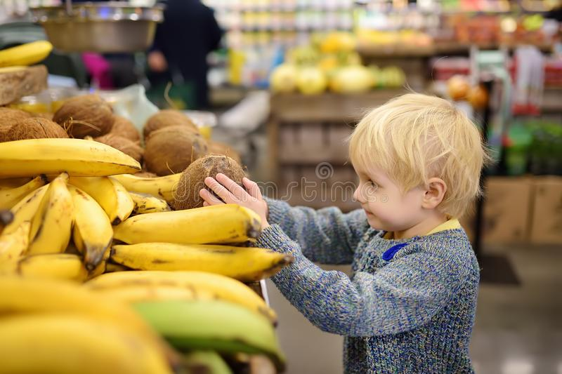Cute little boy in a food store or a supermarket choosing fresh organic coconut. Healthy lifestyle for young family with kids royalty free stock photography