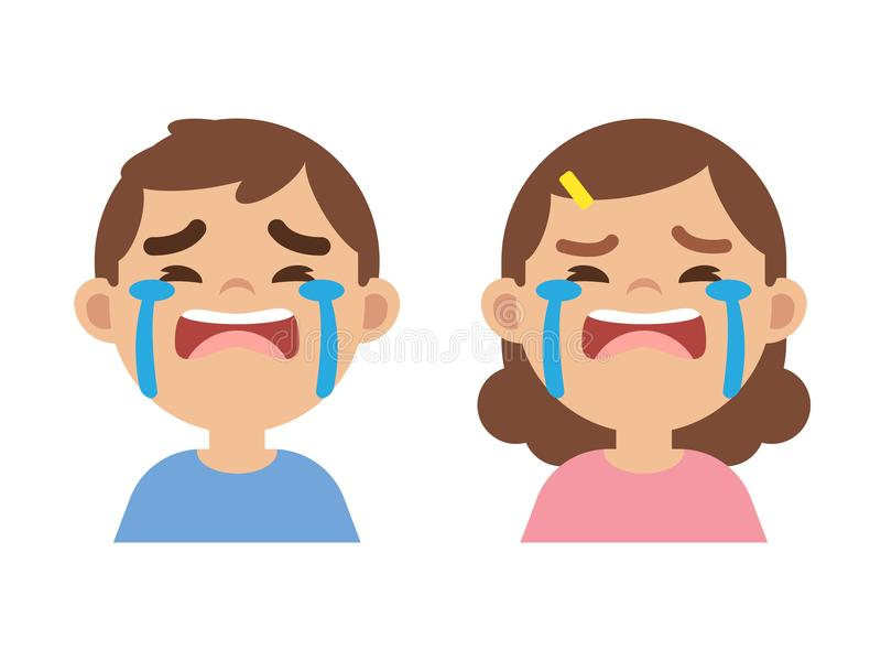 Cute little boy and girl crying, close up face, vector illustration. royalty free illustration