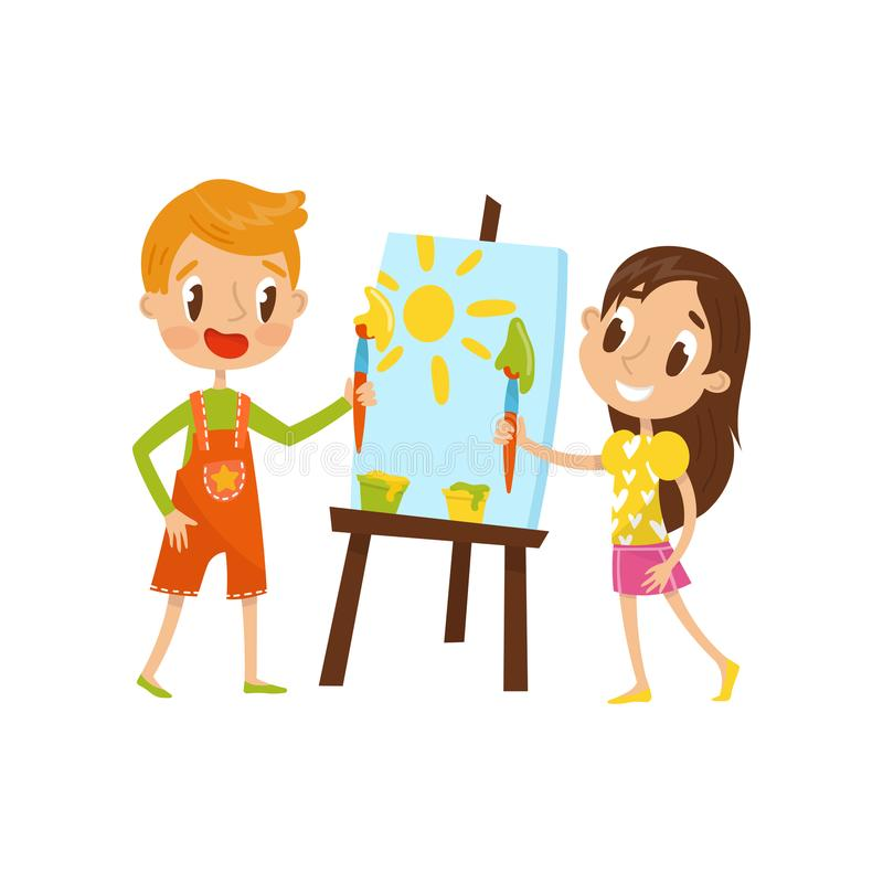 Cute little boy and girl painting on an easel, kids creativity, education and development concept vector Illustration on stock illustration