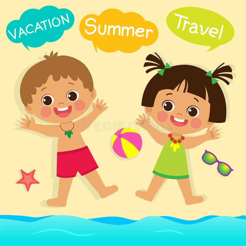 Cute Little Boy And Girl Playing With Sand On Summer Beach. It Was Really Funny. vector illustration