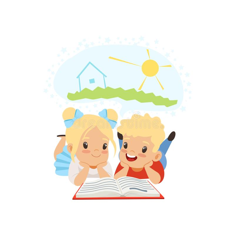 Cute little boy and girl reading fairy tail fantasy book, kids imagination concept vector Illustration on a white stock illustration