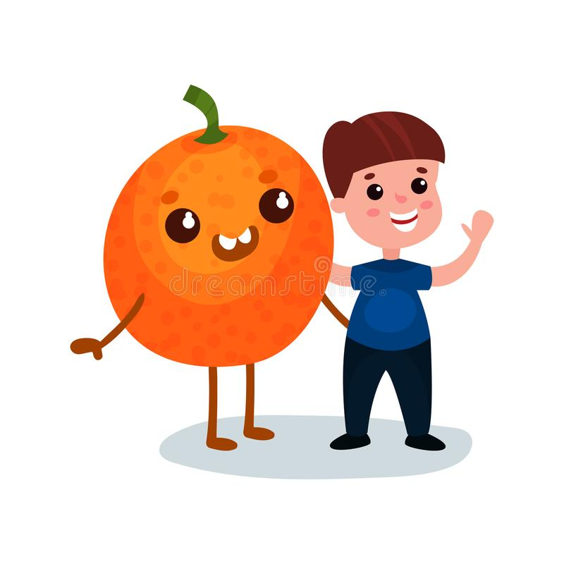 Cute little boy having fun with smiling giant orange fruit character, best friends, healthy food for kids cartoon vector. Cute little boy having fun with smiling royalty free illustration