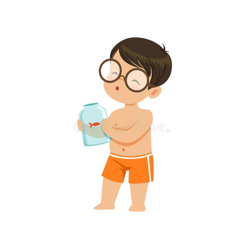 Cute little boy holding glass jar with goldfish, kid playing at the beach, happy infants outdoor activity on summer royalty free illustration