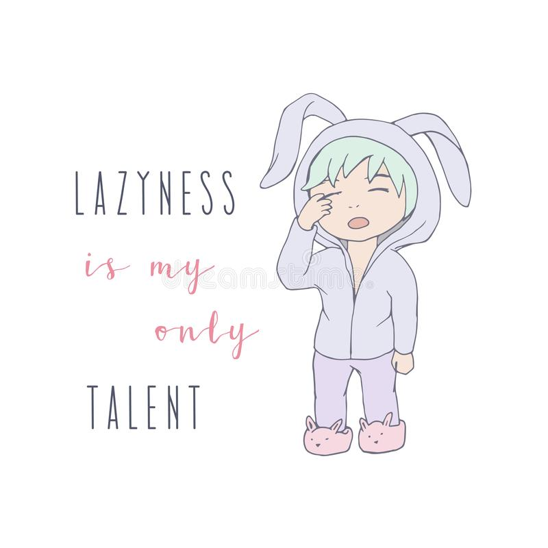 Cute little boy illustration with funny quote lettering. Isolated sleepy lazy stock illustration