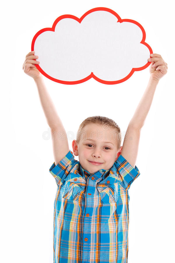 Cute little boy isolated with a white placard. royalty free stock photos