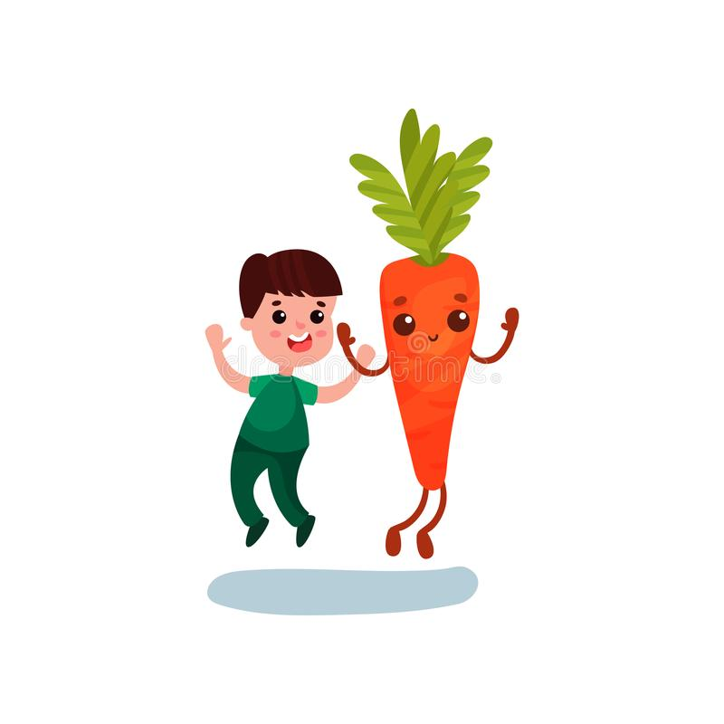 Cute little boy jumping with happy giant carrot vegetable character, best friends, healthy food for kids cartoon vector. Illustration on a white background stock illustration