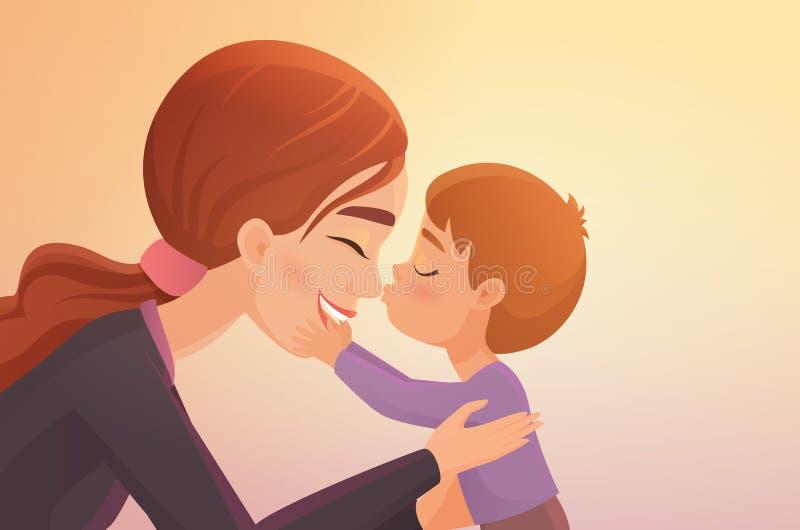 Cute little boy kisses his happy mother cartoon vector illustration. stock illustration