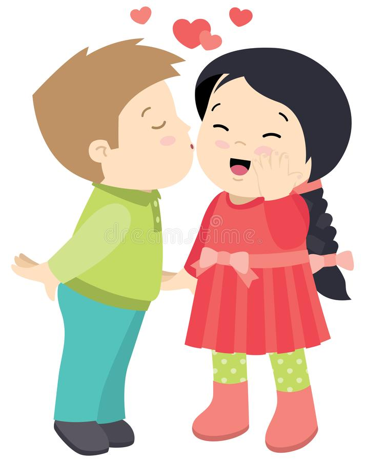 Cute Little boy Kissing a Girl Valentines Day Card Vector Flat Illustration Isolated on White royalty free illustration