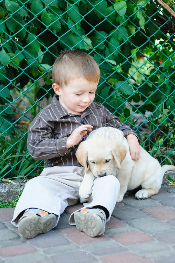 Cute little boy kneeling with his puppy labrador smiling at camera.  royalty free stock image