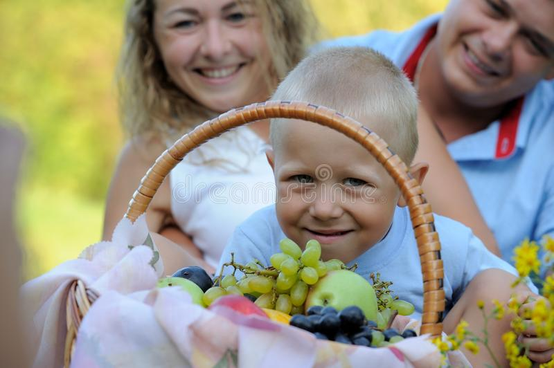 A cute little boy is looking through a fruit basket, and mom and dad are sitting behind him on the grass in the Park stock photo
