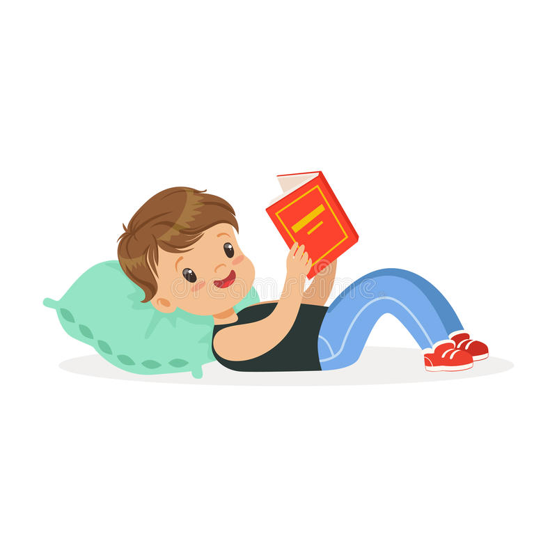 Free Cute Little Boy Lying On A Pillow And Reading A Book, Kid Enjoying Reading, Colorful Character Vector Illustration Royalty Free Stock Photos - 96874808