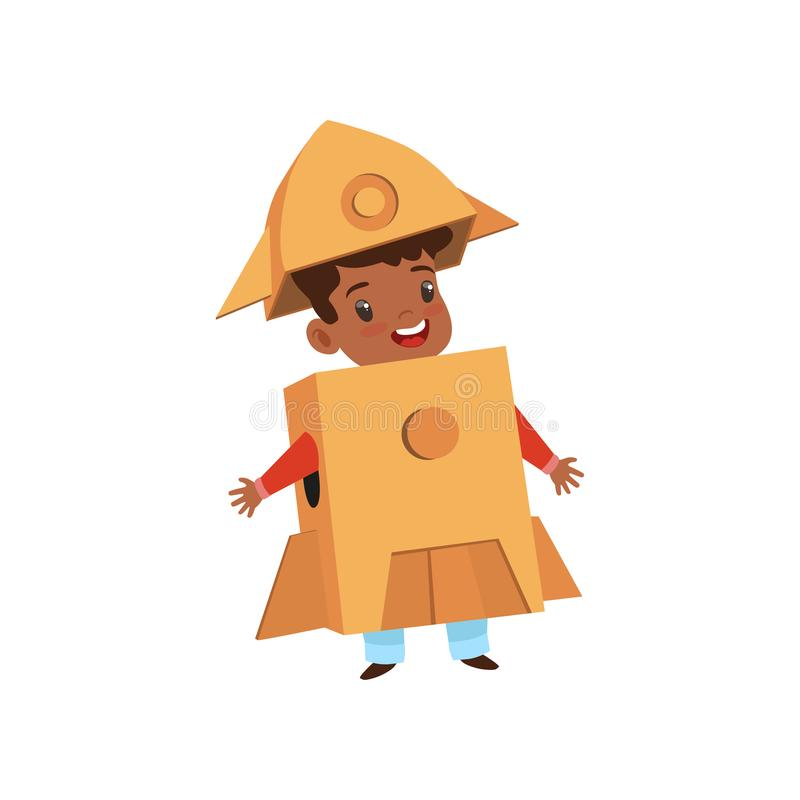 Cute little boy playing as astronaut, lovely kid in rocket costume made of cardboard boxes vector Illustration on a royalty free illustration