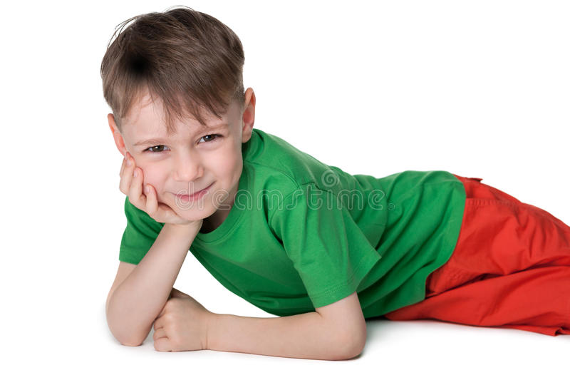 Cute little boy rests stock photography