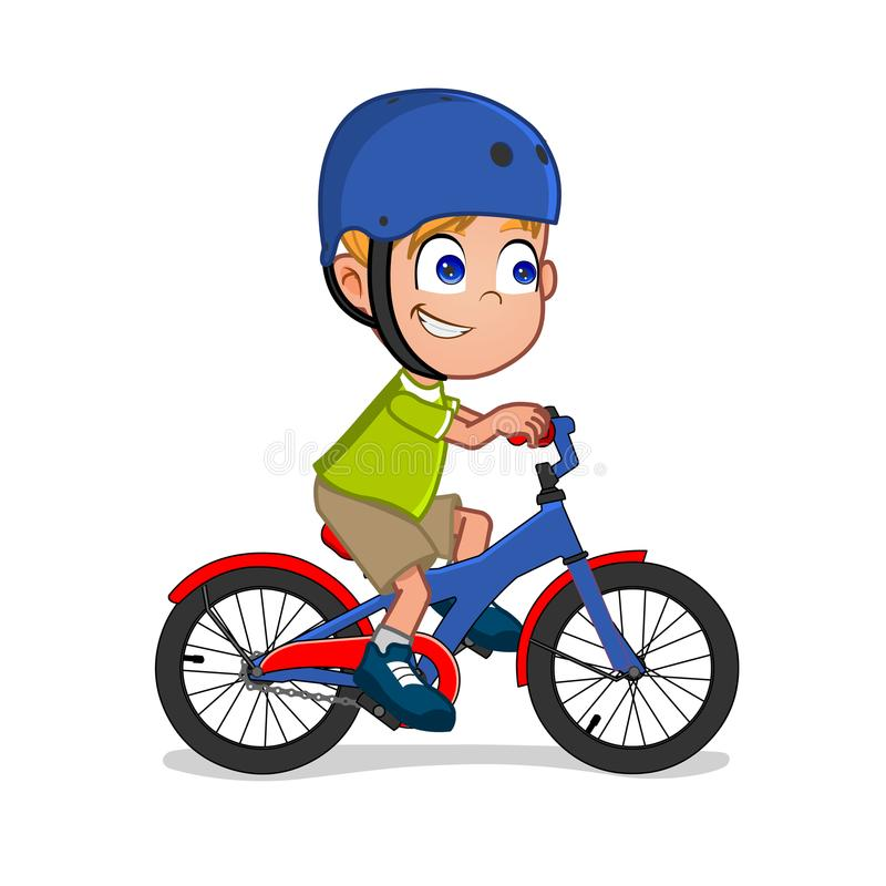Cute Little Boy Riding Bicycle Stock Illustration ...