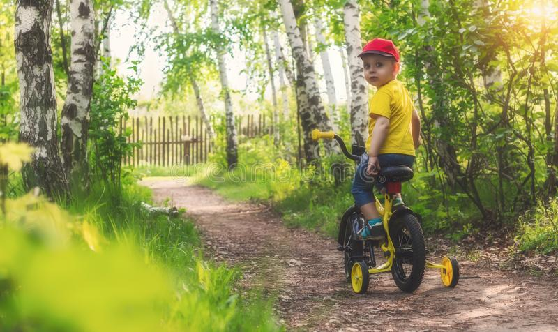 Little baby is learning to ride a bicycle in the forest. royalty free stock photography