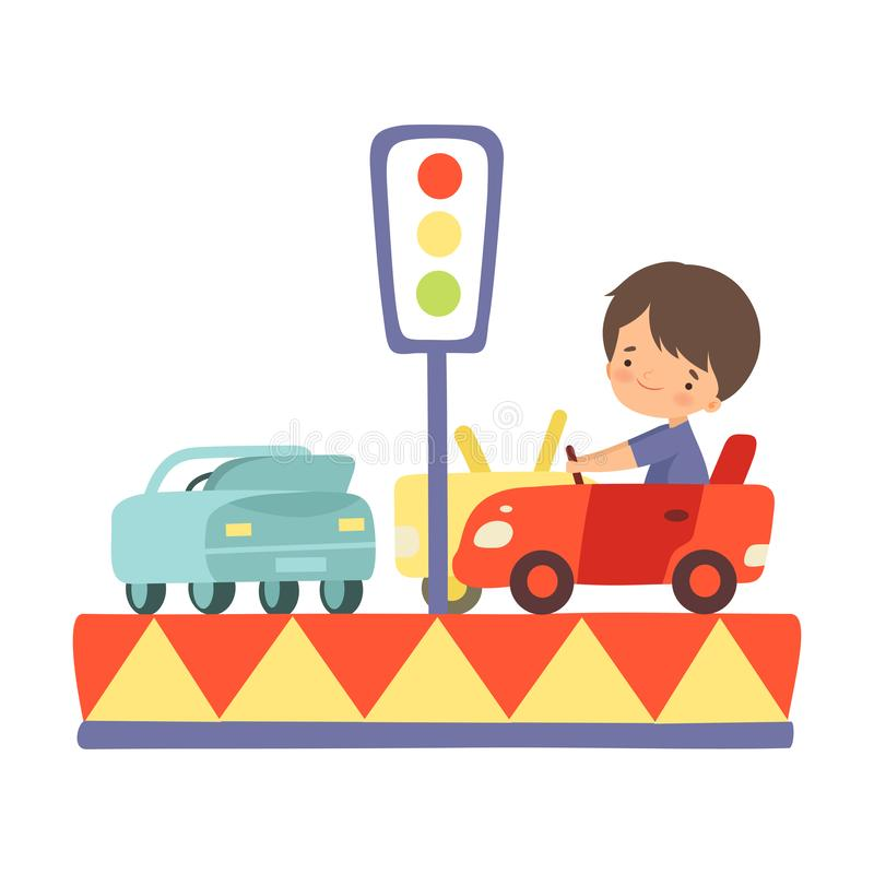 Cute Little Boy Riding at Car Carousel, Happy Kid Having Fun in Amusement Park Vector Illustration. On White Background stock illustration