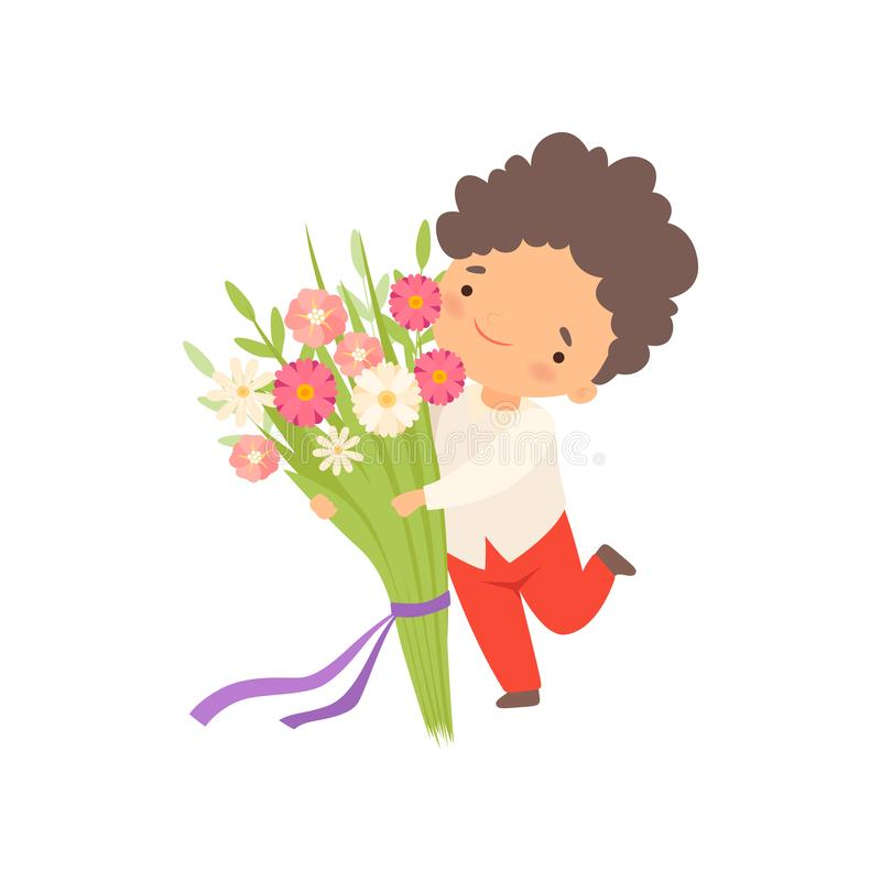 Cute Little Boy Running with Bouquet of Flowers Cartoon Vector Illustration. On White Background vector illustration