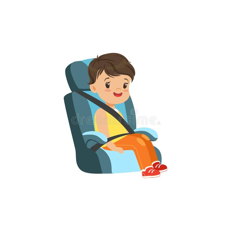 Cute little boy sitting in blue car seat, safety car transportation of small kids vector illustration stock illustration