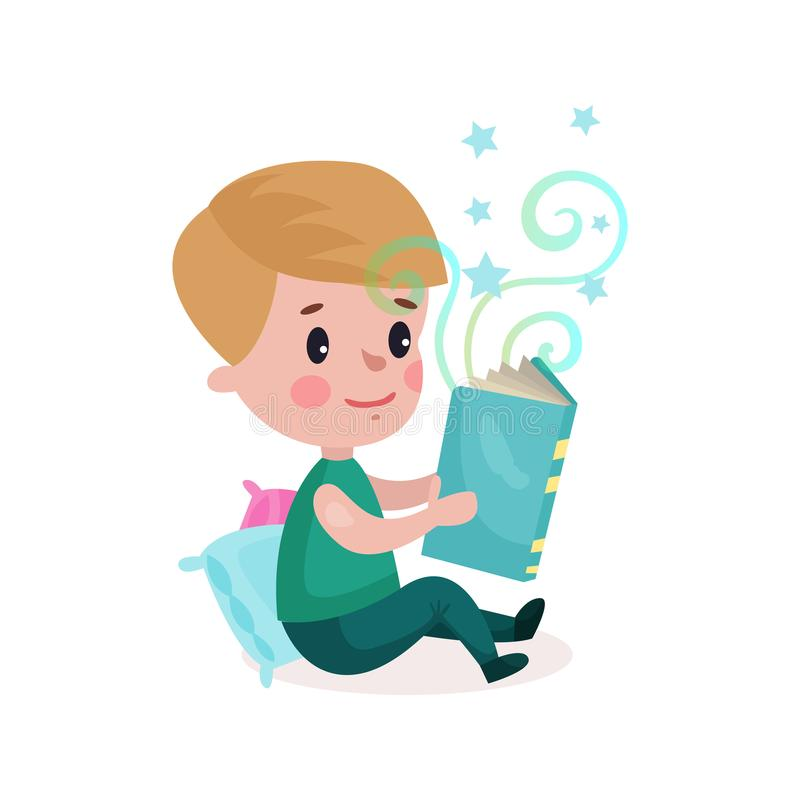 Cute little boy sitting on the floor and reading fairytale book, kids imagination concept cartoon colorful Illustration royalty free illustration