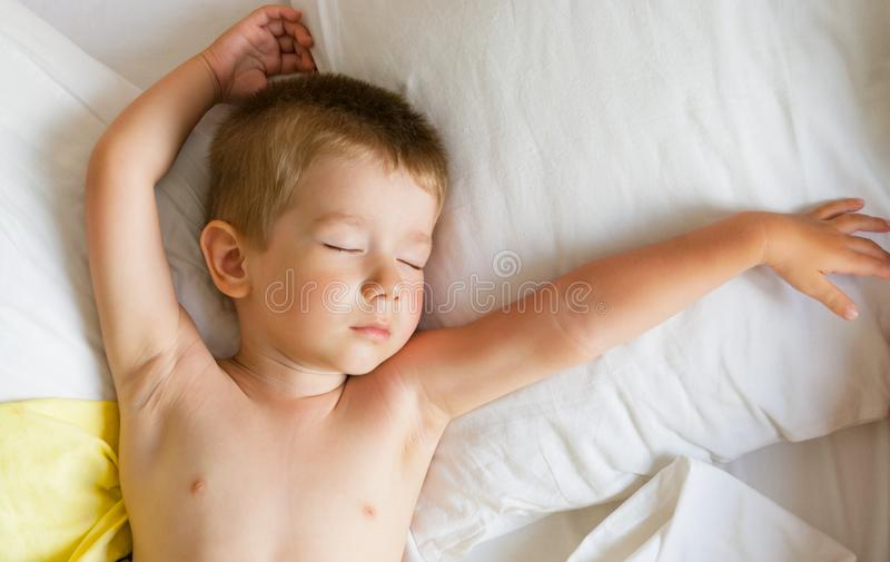 Cute little boy sleeping. royalty free stock image