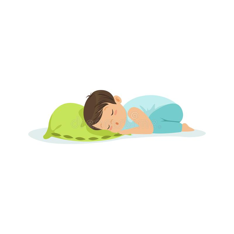 Cute little boy sleeping on a pillow cartoon character vector illustration. On a white background royalty free illustration