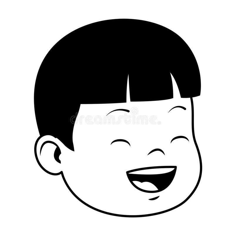 Cute little boy smiling face in black and white stock illustration