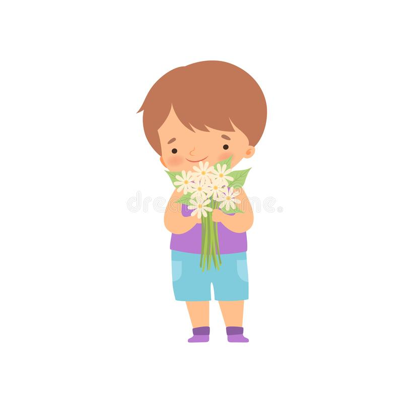 Cute Little Boy Standing with Bouquet of Flowers Cartoon Vector Illustration. On White Background royalty free illustration