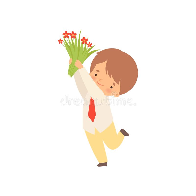 Cute Little Boy Standing with Bouquet of Red Flowers Cartoon Vector Illustration. On White Background vector illustration