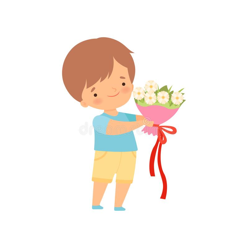 Cute Little Boy Standing with Bouquet of White Flowers Cartoon Vector Illustration. On White Background vector illustration