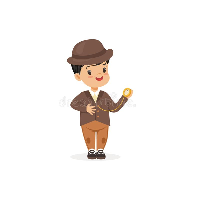 Cute little boy in tweed suit with pocket watch, young gentleman dressed up in classic retro style vector Illustration. Isolated on a white background stock illustration