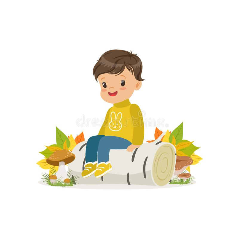 Cute little boy in warm clothing sitting on the birch log in autumn forest, lovely kid enjoying fall, autumn kids vector illustration