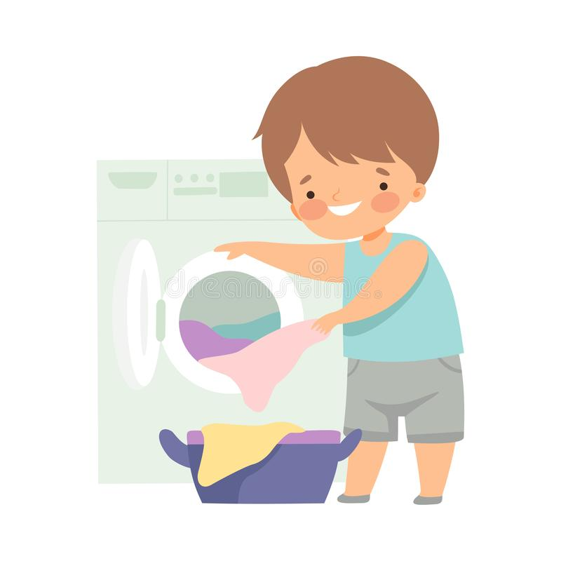 Cute Little Boy Washing Clothes with Washing Machine, Adorable Kid Doing Housework Chores at Home Vector Illustration. On White Background stock illustration