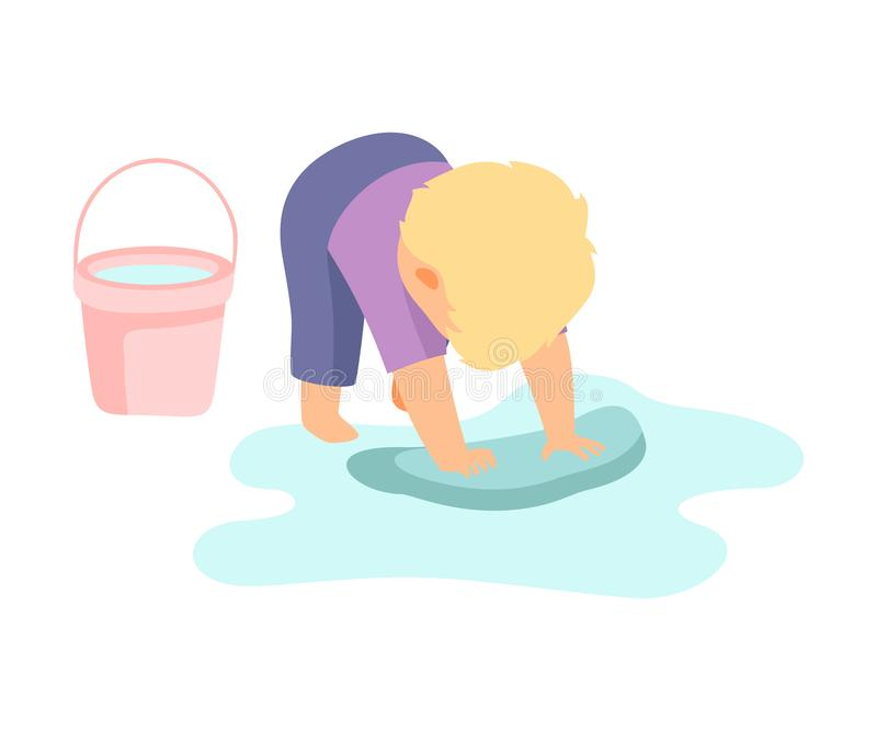 Cute Little Boy Washing Floor with Rag and Bucket, Adorable Kid Doing Housework Chores at Home Vector Illustration. On White Background stock illustration