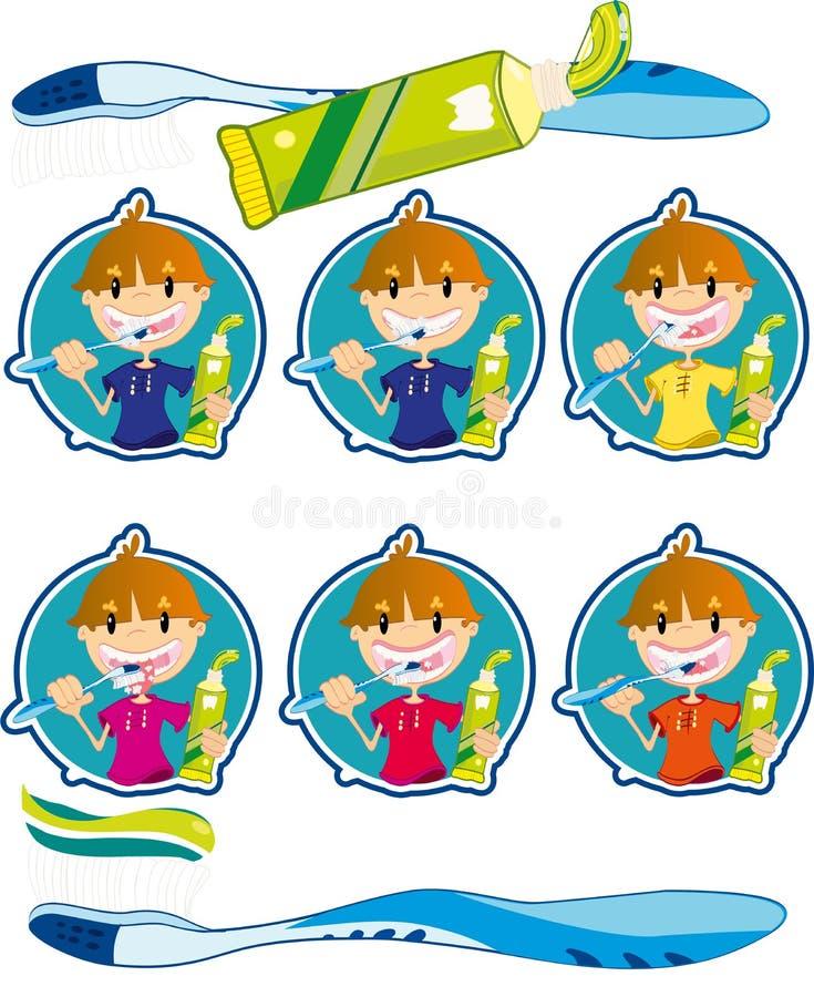 Cute little boy washing teeth. Vector illustration of the cute little boy washing teeth royalty free illustration