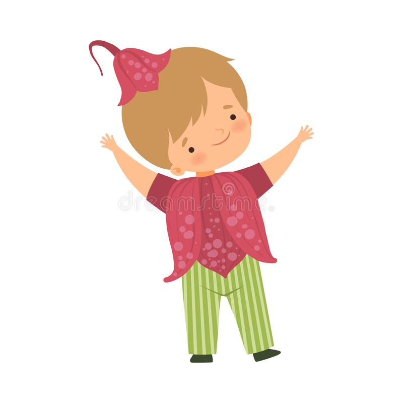 Cute Little Boy Wearing Dark Pink Flower Costume and Cap, Adorable Kid in Carnival Clothes Vector Illustration. On White Background stock illustration