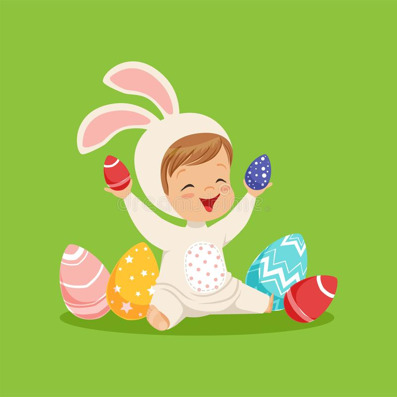 Cute little boy in a white bunny costume playing with colorful painted eggs, kid having fun on Easter egg hunt vector. Illustration on a lawn green background vector illustration