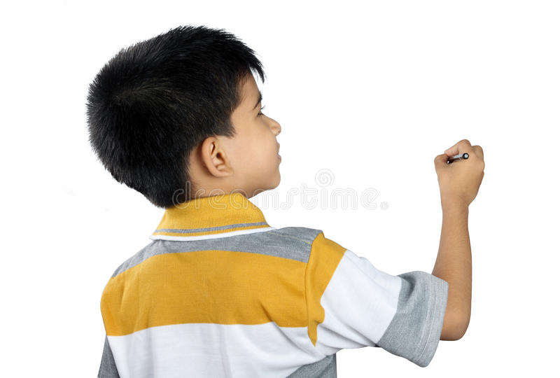 Cute Little Boy Writing stock images