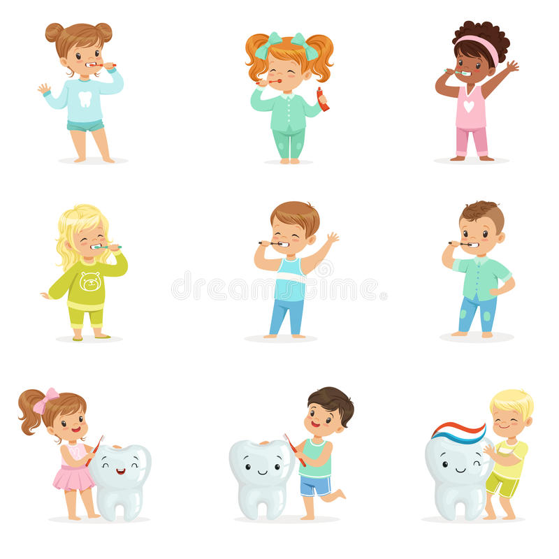 Cute little boys and girls brushing teeth. Colorful cartoon characters vector illustration