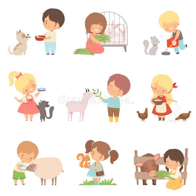 Cute Little Boys and Girls Feeding Animals Set, Adorable Kids Caring for Wild and Domestic Animals Cartoon Vector stock illustration