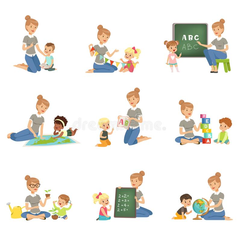 Cute Little Boys And Girls Playing And Studying Set, Children Study ...
