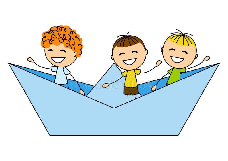 Cute little boys. In paper boat vector illustration