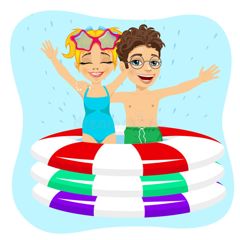 Cute little brother and sister swimming in inflatable pool. On blue background vector illustration