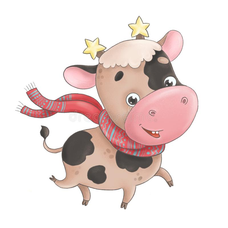 Cute little bull-calf in a scarf and stars on its horns runs cheerfully royalty free stock photo