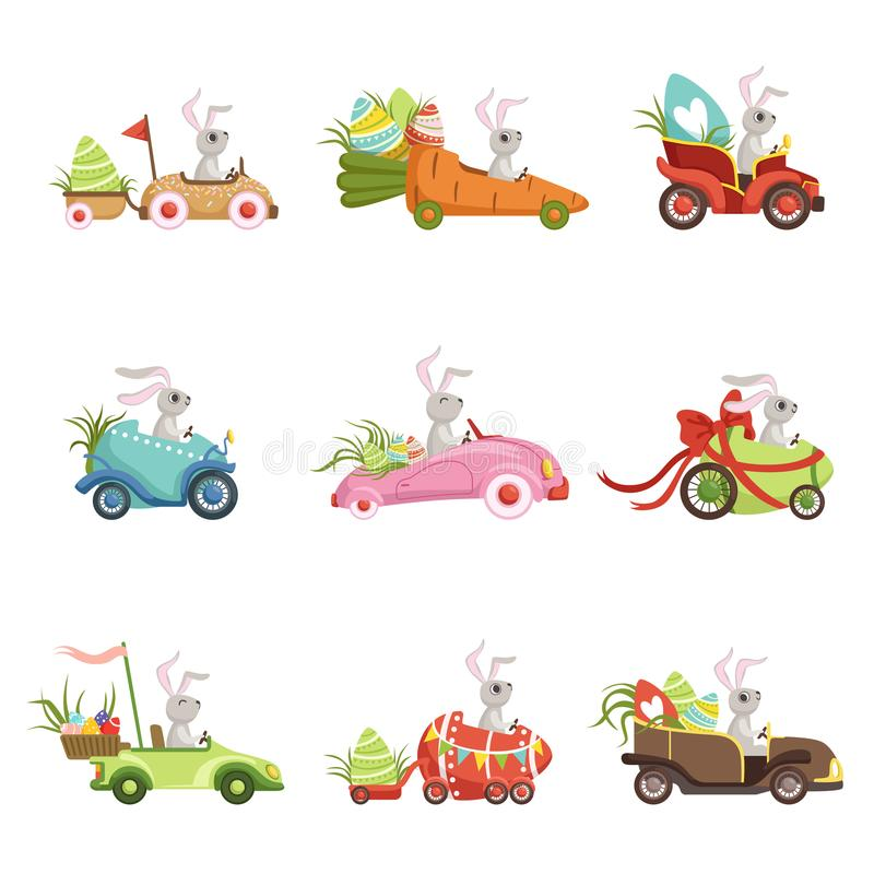 Cute little bunnies driving vintage car with colored eggs set, funny rabbit characters, Happy Easter concept cartoon. Vector Illustrations on a white background vector illustration